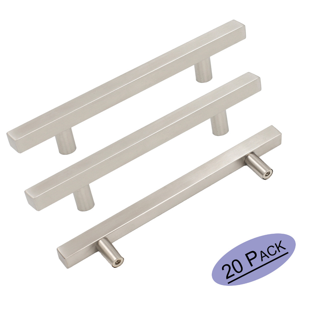 Us 3374 Brushed Nickel Kitchen Cabinet Handles Square T Bar Stainless Steel Furniture Drawer Pulls Knobs Modern Cabinet Hardware 20 Pack In Cabinet