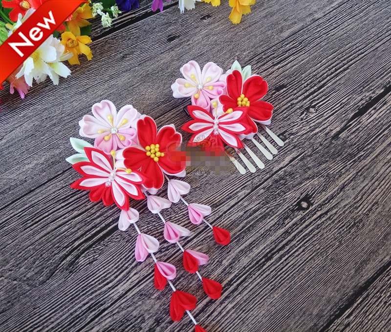 Hand Made Hairpin Cotton Cloth Hair Clip Red Cherry Barrettes Japanese Style Anime Cosplay Accessories Kimono Hanfu Retro Fan ...