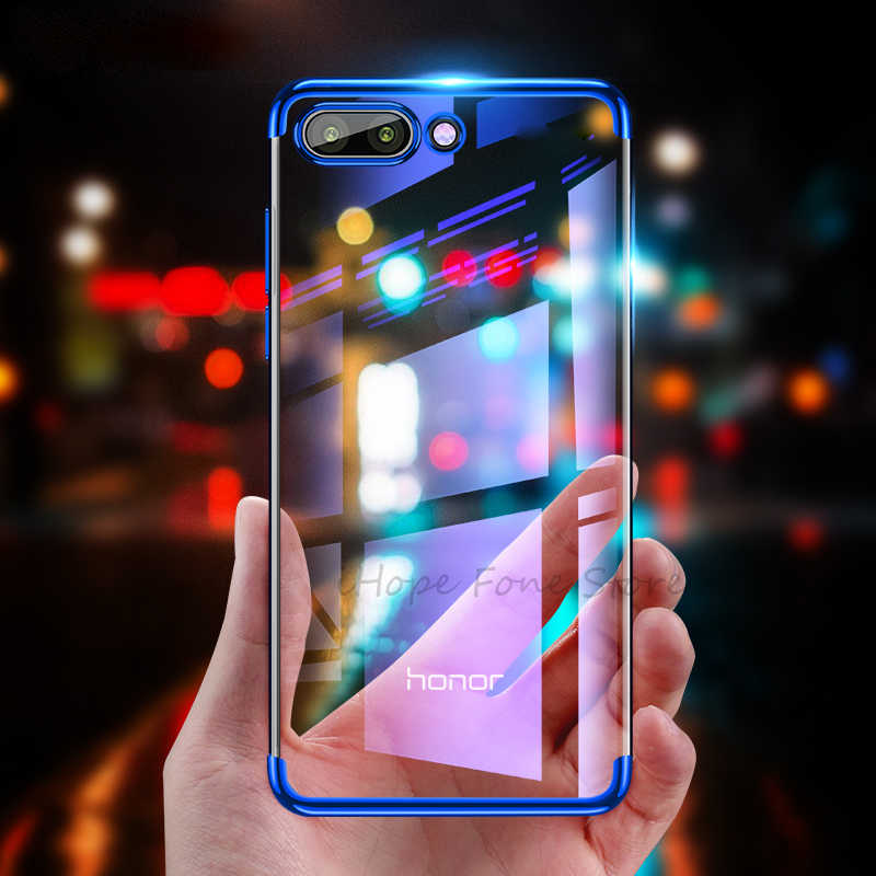 Transparent Soft TPU Case For Huawei Honor 8X Max 8C 8 9 10 Lite Plating TPU Cover For Honor Note 10 9 V10 V9 Play 7X Capa