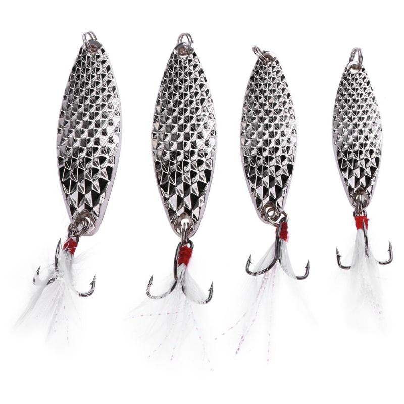 1pcs Spoon Lure 20g-15g-10g-7g Metal Zinc Alloy Hard Leech Fishing Lures Bait with Crystal Feather Hook Silver Spoon Bass Baits