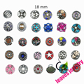 Hot wholesale 50pcs/lot High quality Mix Many styles 18 mm Metal Snap Button Charm Rhinestone Styles Button Ginger Snaps Jewelry