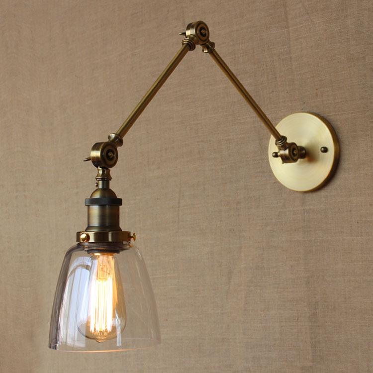 Retro Vintage Industrial Style Golden Arm Iron Glass Wall Lamp Hotel Light Bedroom Light Decoration Wall Lamp Free Shipping стоимость
