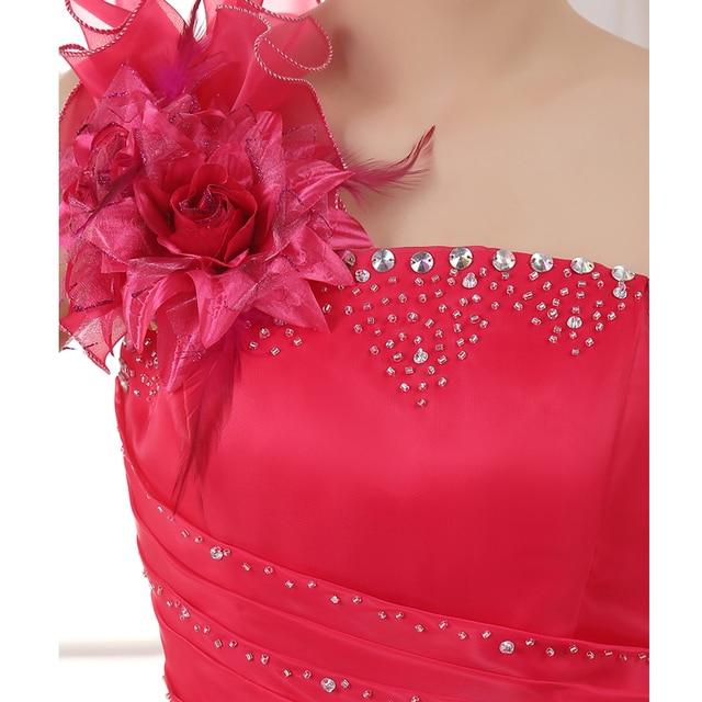 Suosikki Romantic 2020 Colorful Organza A line Beading Ruched One Shoulder Wedding Dress Bride Beautiful Party Vestidos De Novia 5