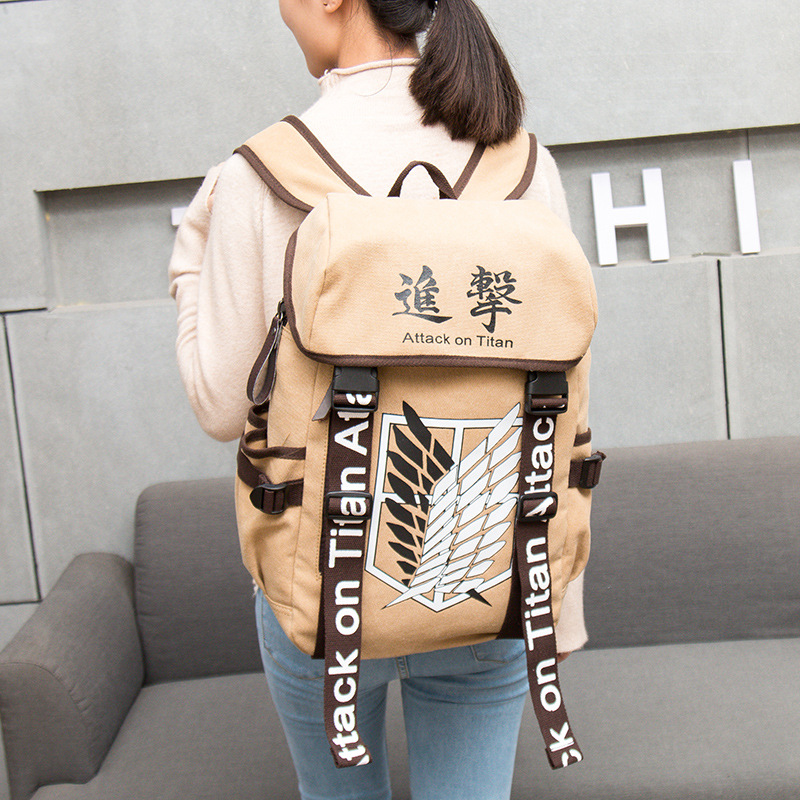 Anime Backpack Attack On Titan Anime Cosplay Eren Bag Cartoon Canvas Backpack Shingeki No Kyojin Schoolbag Shoulders Travel Bags(China)