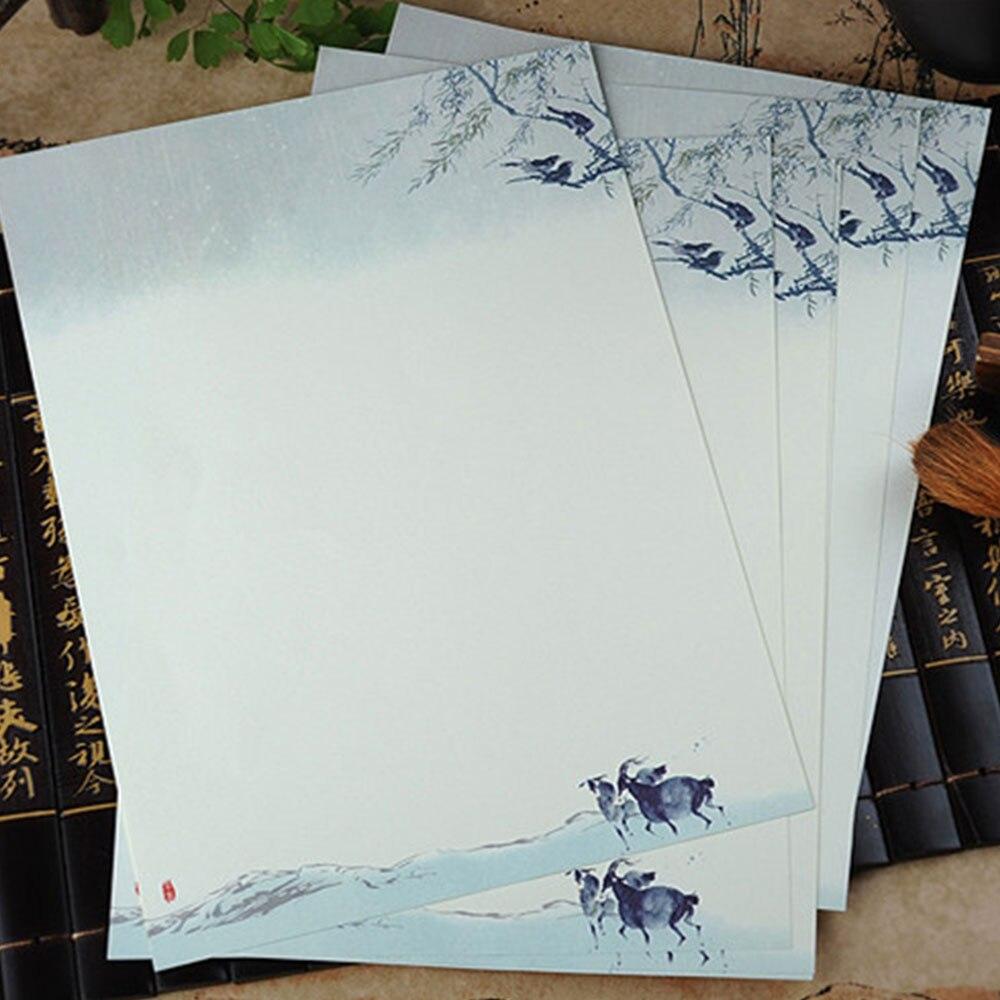 8 шт. бумажные открытки в китайском стиле, бумажные конверты, Подарочные элегантные канцелярские принадлежности, чистые и свежие - Цвет: Qingming rain