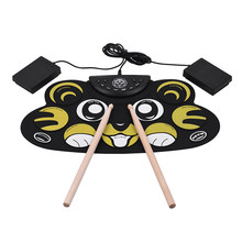 Electronic Drum Roll Up Cartoon Drum Set Kit Silicon with Drumsticks Foot Pedals USB Cable for Children Kids(China)