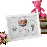 Household Decor Kid Photo Frame Diy Footprint Handprint Imprint Cast Gift Set Picture With Soft Clay