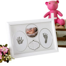 Kid Photo Frame Diy Footprint Handprint Imprint Cast Gift Set Picture With Soft Clay Decoration Novelty Gift(China)