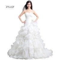 ZYLLGF Ruffled Organza Wedding Dresses Ball Gown Sweetheart Sweep Train Wedding Gowns 2017 Vintage Bridal Dress