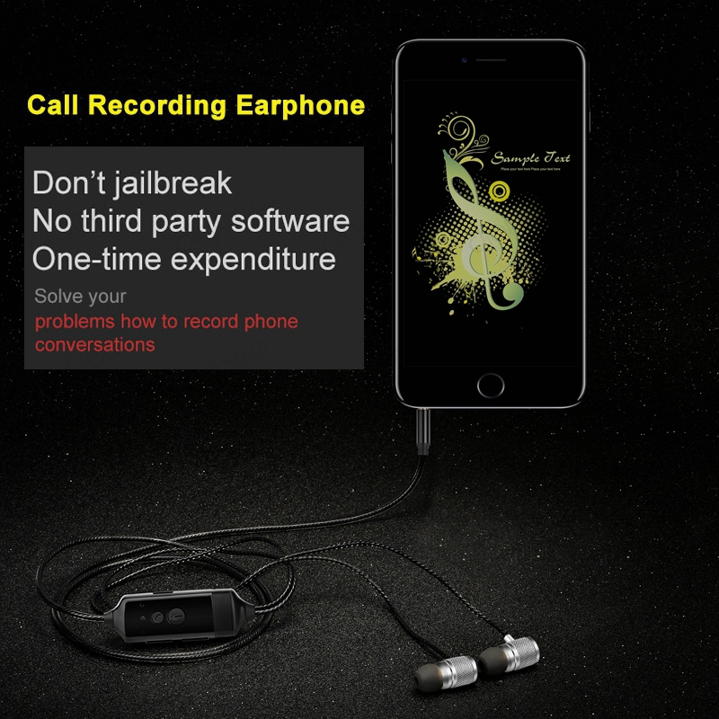 512MB Voice Recorder In-Ear with Mic 3.5mm Business Meeting Phone Conversation Call Recording Earphone for iPhone 4/5/6 Android hot 4gb metal shell bluetooth voice recorder vos vor recording with call phone