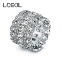 LCEOL Hot Sale Luxury Jewelry CZ Diamonds Ring Big Off White Gold Color Full Inlay Clear