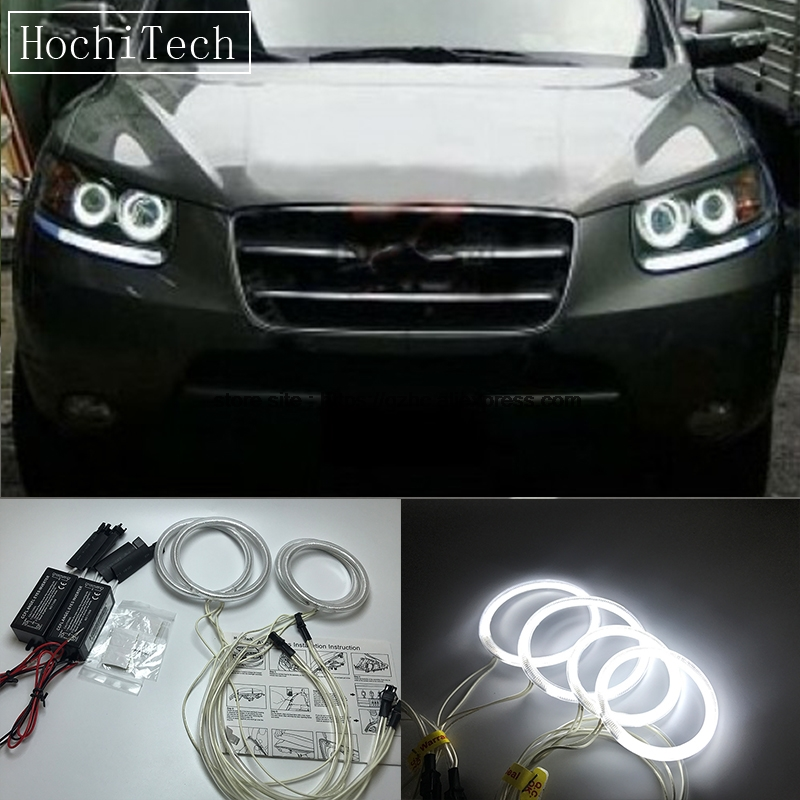 HochiTech For Hyundai Santa Fe santafe 2007-2012 Ultra Bright Day Light DRL CCFL Angel Eyes Demon Eyes Kit Warm White Halo Ring seintex 85749 hyundai santa fe 2013 black
