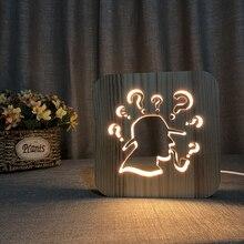 Thinker Wood 3D Night Light USB Decor Nightlight Cartoon DIY Customized Holiday Kid Desk Tabel Lamp LED Lighting Gift IY801101