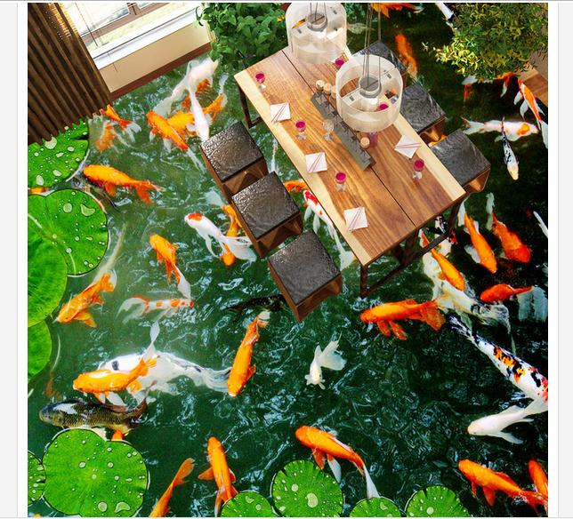 Online buy wholesale koi wallpaper from china koi for Koi fish bathroom decorations