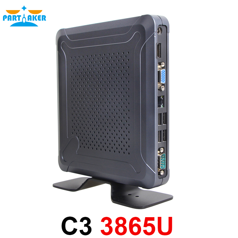 Partaker C3 Windows 10 Mini PC with Fan Intel Celeron 3865U Support WiFi 3G/4G Bluetooth