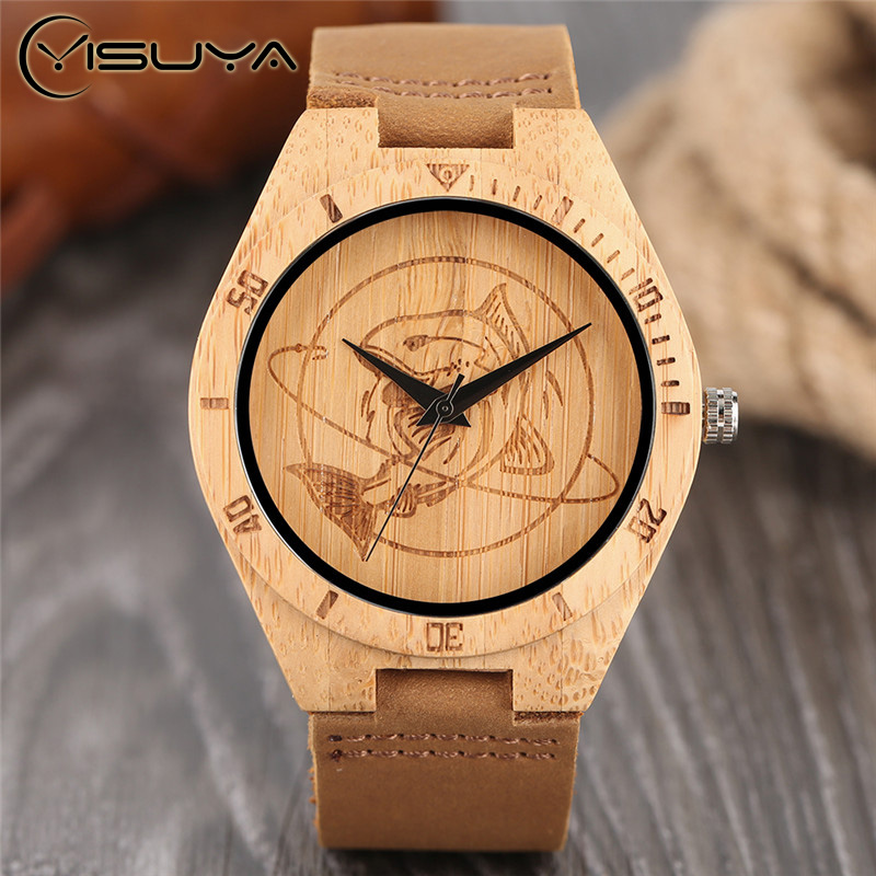 YISUYA Creative Wood Watch Shark Fish Mens Womens Natural Bamboo Wooden Quartz Wrist Watches Casual Leather Lucky Gifts Relogio