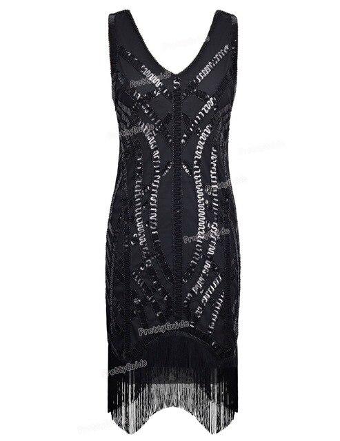 Prettyguide Women 1920s Vintage Black Sequin Embellished Curve Hem Fringe Gatsby Dress Roaring 20s Inspired Fler
