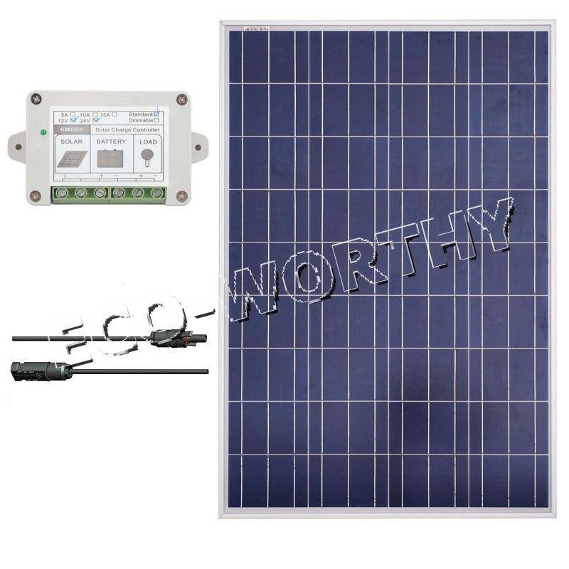 100 Watt Solar Panel Bundle Kit 100W W/ controller Off Grid 12V RV Boat Home