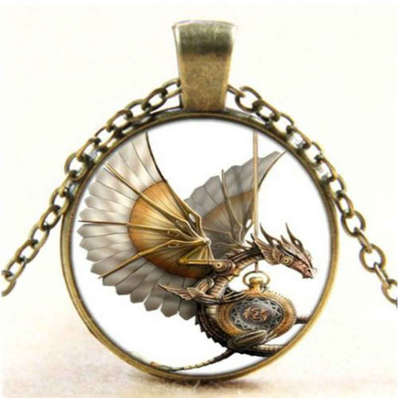 Vintage Steampunk Dragon Photo Cabochon Glass Bronze Pendant Necklace For Men Femme Collier Bijoux