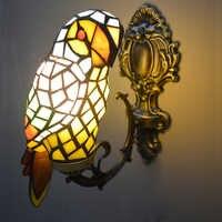 Macaw bird tiffany lámpara de pared vitral pared montada lámpara de acento para foyer novedad accesorio de luz única decoración del hogar iluminación