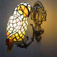 Macaw bird tiffany wall lamp stained glass wall mounted accent lamp for foyer novelty light fixture unique home decor lighting