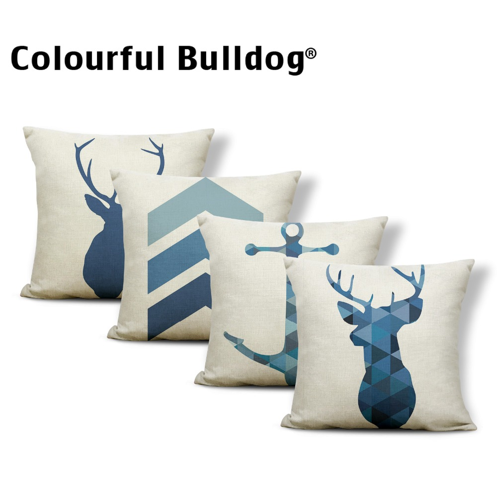 Animal Cushion Antlers Elephant Pillow Case Tropical Style
