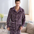 The winter men flannel pajamas More fashionable stripe male money bigger sizes coral fleece clothing at home47