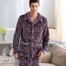 Зимой мужчины фланелевую пижаму более модным полоса мужской деньги большие размеры ватки одежда на home47