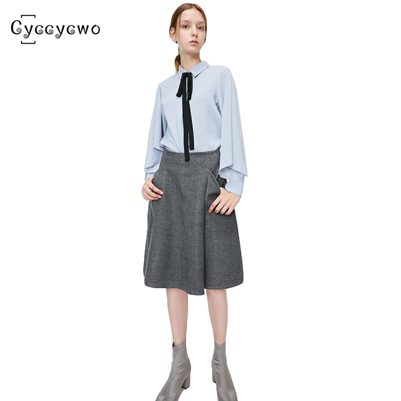 2019 New Summer A-Line Formal Skirt Women Office Lady  Knee-Length Loose Solid Skirts Womens High Waist OL Clothes Female we0176