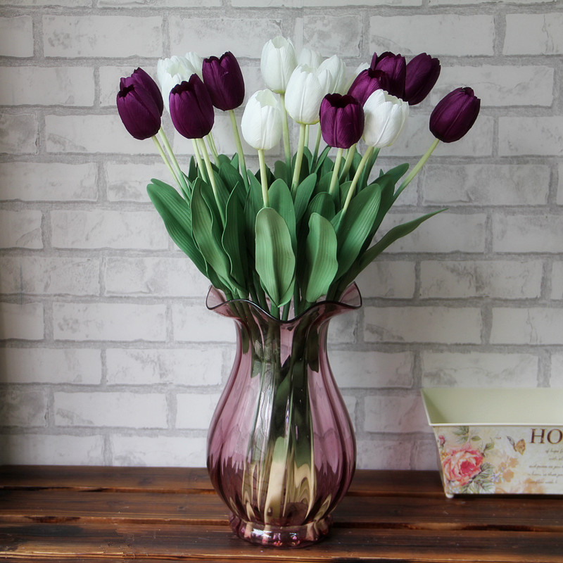 1Pcs Purple White Red Wedding Artificial Flowers Tulips Fake Display Flower Silk Tulips For Home
