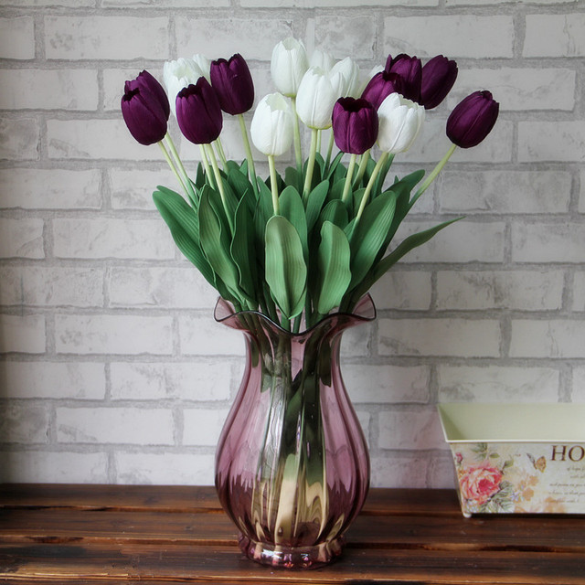 1pcs Purple White Red Wedding Artificial Flowers Tulips Fake Display