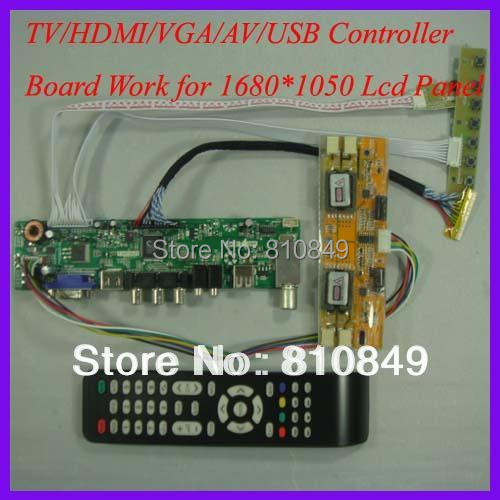 TV/HDMI/VGA/AV/USB/AUDIO LCD controller Board for 1680x1050 4 CCFL lcd panel