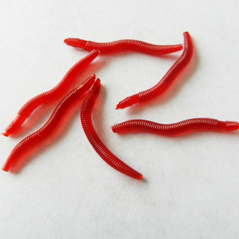 100Pcs/lot 3.5cm Simulation Earthworm red Worms Artificial Fishing Lure Tackle Soft Bait Lifelike Fishy Smell Lures Red 001+ ...