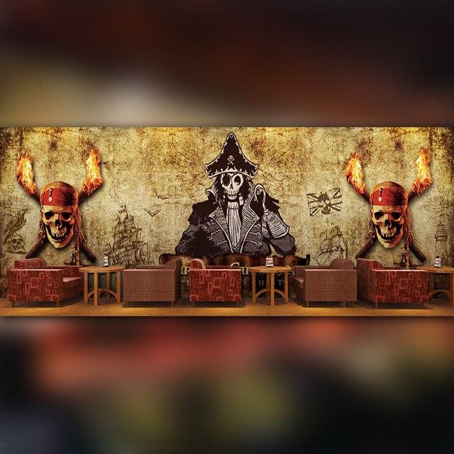 World Map Mural Pot Shop Restaurant Office Background Wallpaper One Piece  Adventure 3D Stereoscopic Skull