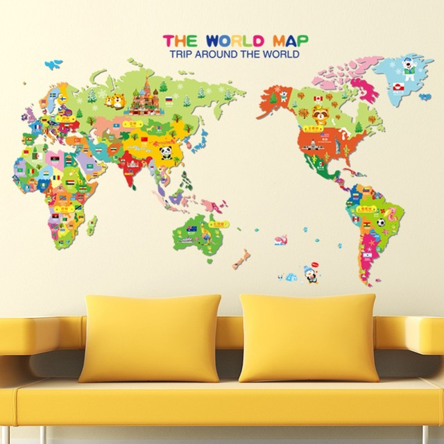 World Map English Letters Wall Sticker Decal Home Paper Removable - World map mural for kids