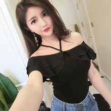 T Shirt Women Sexy Off Shoulder Fashion Summer Tee Shirt Femme Halter Neck Ruffle Tshirt Solid Short Sleeve Casual T Shirts Tops
