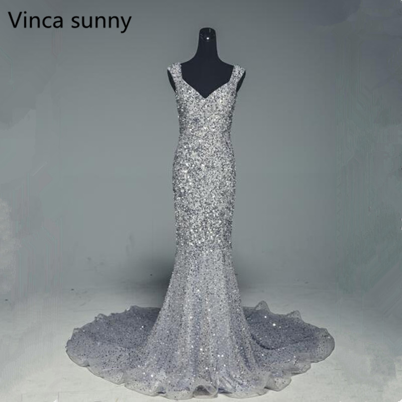 Luxury Mermaid   Prom     Dress   2018 New Beads Sequins Tulle Evening   Dress   Long Spaghetti Strap Gown robe de soiree