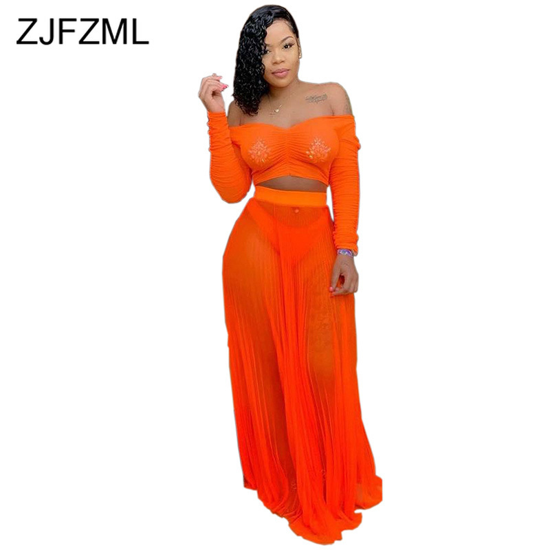 Neon Orange Sexy 2 Piece Outfits For Women Salsh Neck Long Sleeve Crop Top+Beach Long  Skirts See Through Two Piece Matching Set(China)