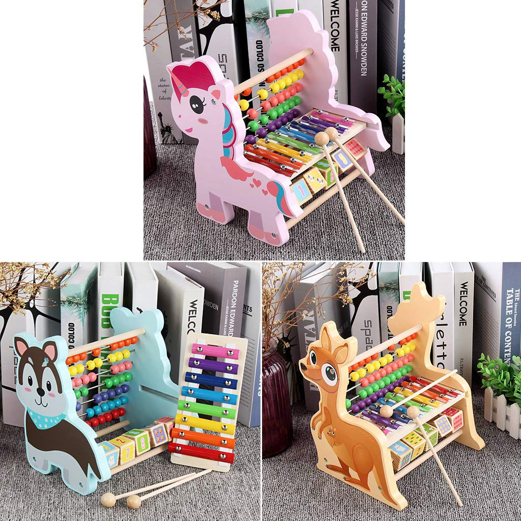 3 In 1 Wooden Toy Abacus Xylophone Number Blocks Early Learning Educational Toys Birthday Gift for Children Toddler Kids