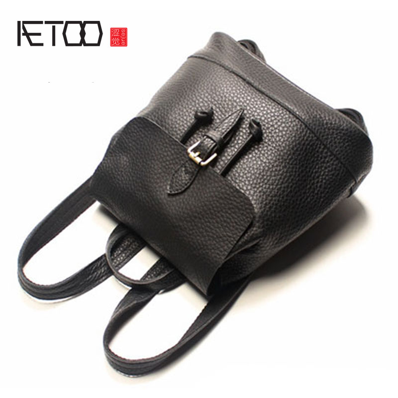 AETOO Autumn and winter new leather shoulder bag female leisure English college style arts and crafts retro first layer of leath aetoo casual fashion shoulder bag leather new female package first layer of leather bags simple temperament leisure travel packa