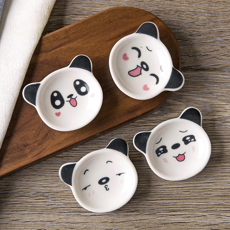 1pc Mini Cartoon Panda Ceramic Small Dish Home Soy Sauce Dish Creative Japanese Tableware Seasoning Saucers title=