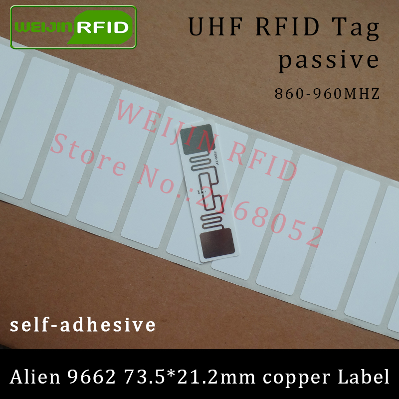 UHF RFID tag Alien 9662 printable copper paper label 915mhz 900mhz 868mhz 860-960MHZ Higgs3 EPC 6C adhesive passive RFID label 500pcs rfid one off coated paper wristbands tag epc gen2 support alien h3 chip used for personnal management