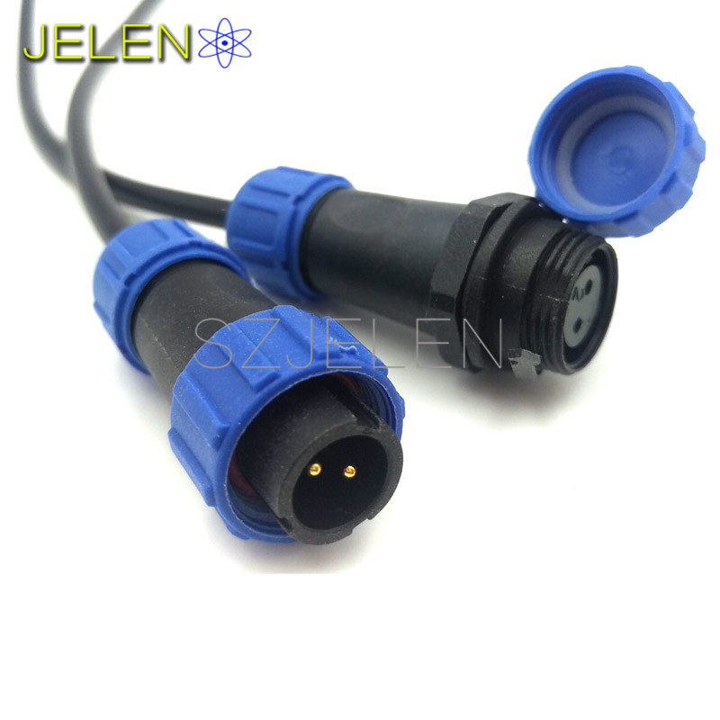 SP13, Waterproof Aviation Connector 2 pon, Cable Connector+In-line cable connector,2 pin plug and socket,IP68, 2 pin Male Female waterproof ip44 industrial plug socket connector 3 pin 4 pin 5 pin 16a 32a male female docking aviation plug