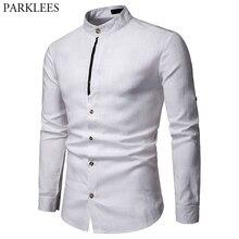 Camisa de lino y 100% para hombre, camisa masculina de lino color blanco puro con cuello mandarín y manga larga, informal, para trabajo de negocios de talla grande