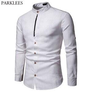 Image 1 - Męskie Pure White 100% koszula lniana stójka z długim rękawem męskie ubranie koszule Casual do pracy Plus rozmiar koszulka Homme topy