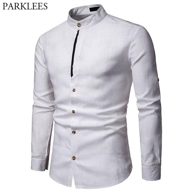 Męskie Pure White 100% koszula lniana stójka z długim rękawem męskie ubranie koszule Casual do pracy Plus rozmiar koszulka Homme topy