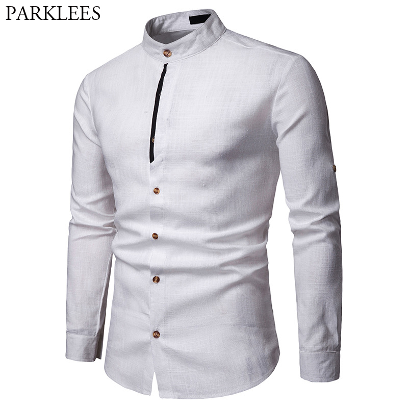 Mens Pure White 100% Linen Shirt Mandarin Collar Long Sleeve Male Dress Shirts Casual Business Work Plus Size Chemise Homme Tops