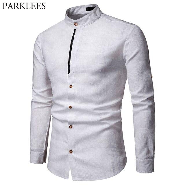 Mens Pure White 100% 리넨 셔츠 만다린 칼라 긴 소매 남성 드레스 셔츠 캐주얼 비즈니스 작업 플러스 사이즈 Chemise Homme Tops