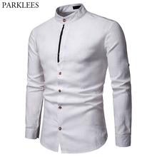 Mens Pure Wit 100% Linnen Overhemd Mandarijn Kraag Lange Mouw Mannelijke Jurk Shirts Casual Business Werk Plus Size Chemise Homme tops