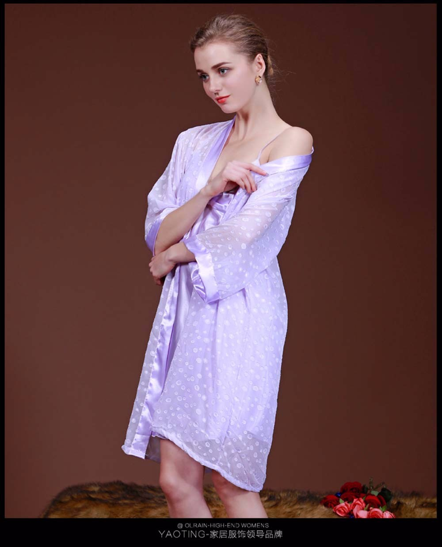 b6b5e9f5c52 Luxury Women Red Blue Pink Green Nightwear Satin Dressing Gown Robe ...